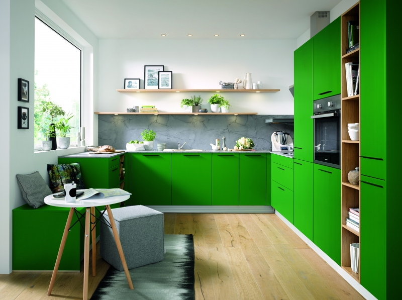 Schuller BIELLA In Moss Green Satin By Complete Kitchens