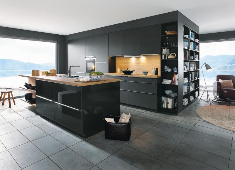Schuller GLASLINE Glass Lava Black Kitchen