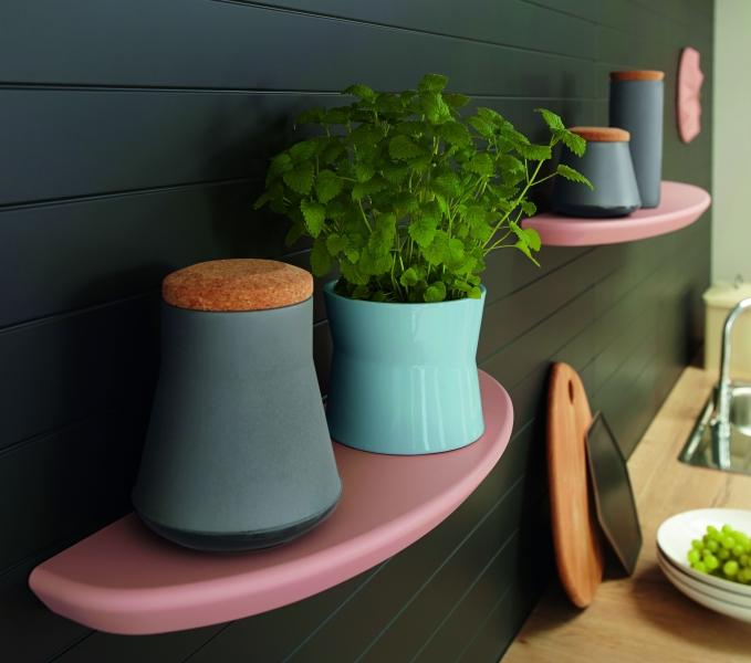 Schuller Pastel Rose Satin Curved Floating Shelves By Complete Kitchens