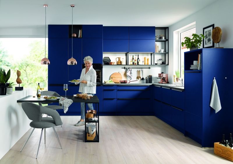 Schuller SIENNA Aqua Blue Matt Velvet By Complete Kitchens