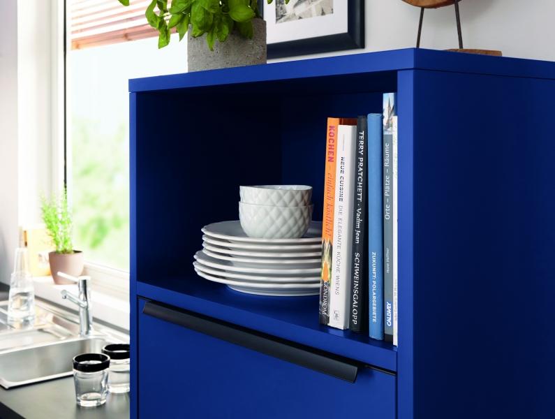 Schuller SIENNA Aqua Blue Matt Velvet Open Shelf Unit By Complete Kitchens
