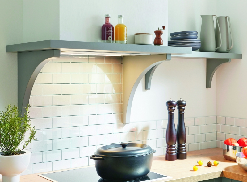 Schuller Straight Chimney Extractor With Curved Shelf Supports By Complete Kitchens
