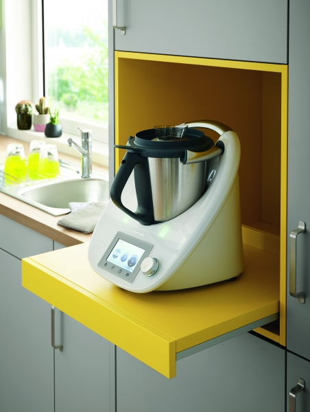 Schuller UNI MATT Stone Grey Matt Including Yellow Satin Pull Out Shelf By Complete Kitchens